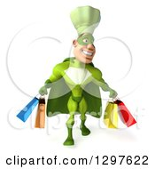 Clipart Of A 3d Caucasian Male Super Chef In A Green Suit Walking With Shopping Bags Royalty Free Illustration