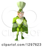 Clipart Of A 3d Caucasian Male Super Chef Walking In A Green Suit Royalty Free Illustration