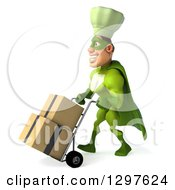 Clipart Of A 3d Caucasian Male Super Chef In A Green Suit Facing Left And Moving Boxes On A Dolly Royalty Free Illustration