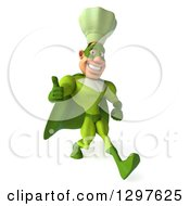 Clipart Of A 3d Caucasian Male Super Chef In A Green Suit Walking Slightly Right And Giving A Thumb Up Royalty Free Illustration