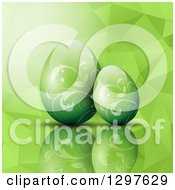 Clipart Of 3d Green Vine Patterned Easter Eggs Over A Geometric Texture Royalty Free Vector Illustration by KJ Pargeter