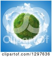 3d Grass And Clover Planet Over A Circle Of Clouds In The Sky