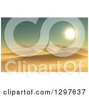 Clipart Of A 3d Desert With Dunes At Sunset Royalty Free Illustration