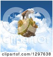 Clipart Of A 3d Elephant On A Dry African Globe Over A Cloudy Sky Royalty Free Illustration