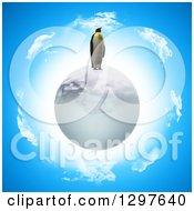 3d Penguin On An Ice Globe Over Sky