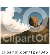 Clipart Of A 3d Man Pushing A Boulder Up A Mountain Side Royalty Free Illustration