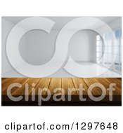 Clipart Of A 3d Wood Table Or Counter With An Empty White Room Royalty Free Illustration