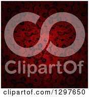 Clipart Of A Dark Red And Black Floral Background Royalty Free Vector Illustration