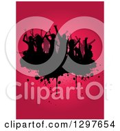 Clipart Of A Crowd Of Black Silhouetted Dancers On Grunge Over Gradient Pink Royalty Free Vector Illustration