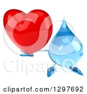 Clipart Of A 3d Water Drop Character Holding Up A Red Love Heart Royalty Free Illustration