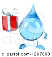 Clipart Of A 3d Water Drop Character Holding A Gift Royalty Free Illustration