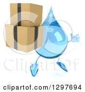 Clipart Of A 3d Water Drop Character Facing Slightly Right Jumping And Holding Boxes Royalty Free Illustration