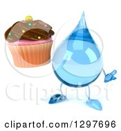 Clipart Of A 3d Water Drop Character Shrugging And Holding A Chocolate Frosted Cupcake Royalty Free Illustration