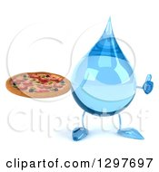 Clipart Of A 3d Water Drop Character Holding A Pizza And Thumb Up Royalty Free Illustration