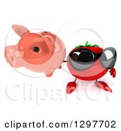 Clipart Of A 3d Tomato Character Wearing Sunglasses And Holding Up A Piggy Bank Royalty Free Illustration