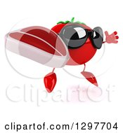 Clipart Of A 3d Tomato Character Wearing Sunglasses Facing Right Jumping And Holding A Beef Steak Royalty Free Illustration