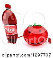 Clipart Of A 3d Happy Tomato Character Holding Up A Soda Bottle Royalty Free Illustration