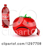 Clipart Of A 3d Unhappy Tomato Character Holding A Soda Bottle Royalty Free Illustration