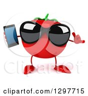 Clipart Of A 3d Tomato Character Wearing Sunglasses Gesturing Call Me And Holding A Smart Cell Phone Royalty Free Illustration