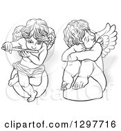 Black And White Angels Sitting On Rocks One Sad One Playing A Flute With Shadows