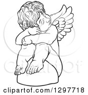 Clipart Of A Black And White Sad Angel Sitting On A Rock Royalty Free Vector Illustration by dero