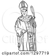 Clipart Of A Black And White Bishop With A Staff Royalty Free Vector Illustration