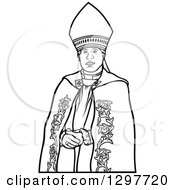 Clipart Of A Black And White Bishop Royalty Free Vector Illustration