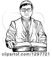 Clipart Of A Black And White Bishop With An Open Bible Royalty Free Vector Illustration