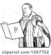 Clipart Of A Black And White Bishop Reading Royalty Free Vector Illustration