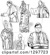 Clipart Of Black And White Bishops And Shadows Royalty Free Vector Illustration