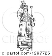 Clipart Of A Black And White Bishop Holding Up A Cross Royalty Free Vector Illustration