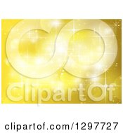Clipart Of A Yellow Background Of Sparkles Lights And Flares Royalty Free Vector Illustration