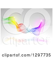 Clipart Of A Rainbow Mesh Wave And Flares Over Gray Royalty Free Vector Illustration by dero