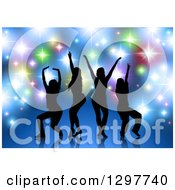 Clipart Of A Black Silhouetted Female Dancers Or Singers Over Blue With Colorful Sparkling Lights Royalty Free Vector Illustration by dero