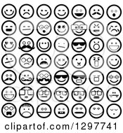 Clipart Of Round Black And White Smiley Faces Royalty Free Vector Illustration