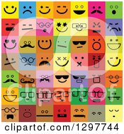 Clipart Of Colorful Square Smiley Face Icons Royalty Free Vector Illustration