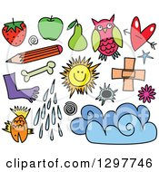 Clipart Of Sketched Dingbat Icons 3 Royalty Free Vector Illustration by Prawny