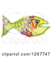 Green Fabric Fish With Purple And Red Markings On White