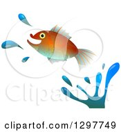 Leaping Fish With Water Splashes On White