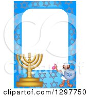 Clipart Of A Golden Border With A Menorah And Soldier Royalty Free Illustration