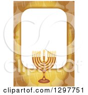 Clipart Of A Golden Border With A Hanukkah Menorah Royalty Free Illustration