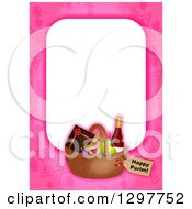 Clipart Of A Pink Border With A Purim Basket Royalty Free Illustration