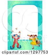 Clipart Of A Border Of A Boy In A Purim Clown Costume And Girl With Mishloach Manot Royalty Free Illustration by Prawny