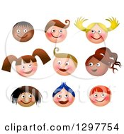 Clipart Of Happy Faces Of Boys And Girls On White Royalty Free Illustration