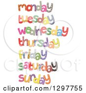 Clipart Of Patterned Stitched Days Of The Week Royalty Free Vector Illustration