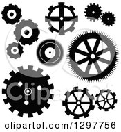 Clipart Of A Black And White Gear Cog Icons Royalty Free Vector Illustration