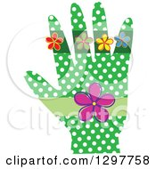 Green Hand With White Polka Dots And Flowers