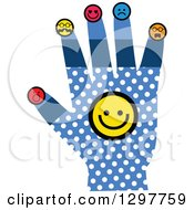 Blue Hand With White Polka Dots And Smiley Faces