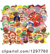 Clipart Of A Crowd Of Diverse Happy Faces Of Children Royalty Free Vector Illustration