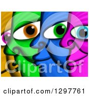 Poster, Art Print Of Painting Of Colorful Faces In Profile